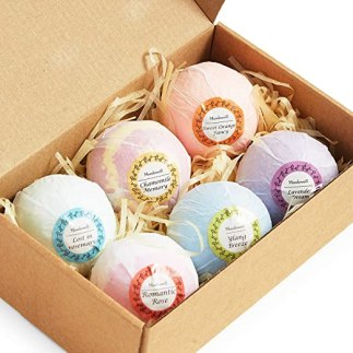 Bath Bombs for Women 6-pack, Organic Natural Essential Oil And Coco Butter Fizzies Bubble Bath Salt Balls w/ Dry Flowers Moisturizes Dry Skin For Relaxation Spa Valentine Day Girlfriend Her/Him Men