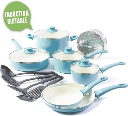 GreenLife CC003170-001 Soft Grip 15 Piece Ceramic Non-Stick Induction Cookware Set, Turquoise