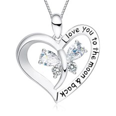 """FANCYCD Holiday Deals Week I Love You to the Moon and Back"""" Love Heart Necklace, Jewelry for Women & Girls, Gifts for Girlfriend, Wife, Sister, Grandma, Mom"""