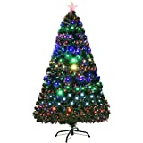 Costway 5ft Artificial Christmas Pre Lit Optical Fiber Tree 8 Flash Modes W Ul