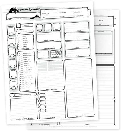 dnd character sheets