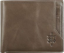 Christian Art Gifts Genuine Leather Wallet for Men | 3:16 Cross – John 3:16 Bible Verse | Quality Classic Taupe Leather Bifold Wallet | Christian Gifts for Men