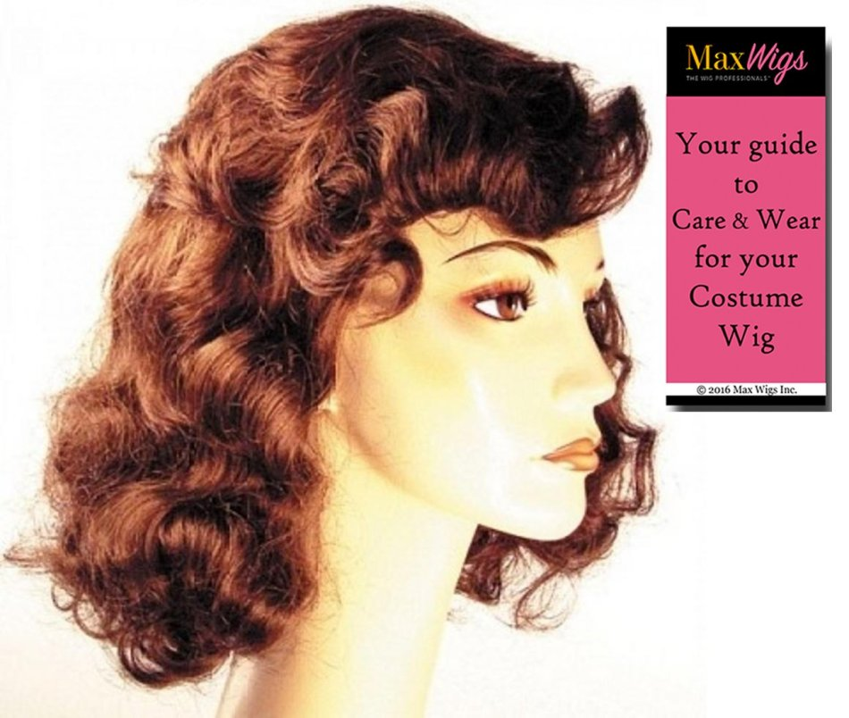 1940s Vamp Bette Davis Color Auburn - Lacey Wigs Women's Hollywood Forties Movie Star Bundle with MaxWigs Costume Wig Care Guide