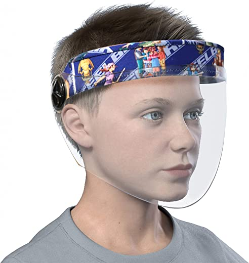 Steelbird SBA-6 7Wings Kids Helmet Visor Face Shield With Blue Cartoon Characters Print, Static Stylish Designer Full Face Protector For All Kids Up To 11 Years (Pack of 2)