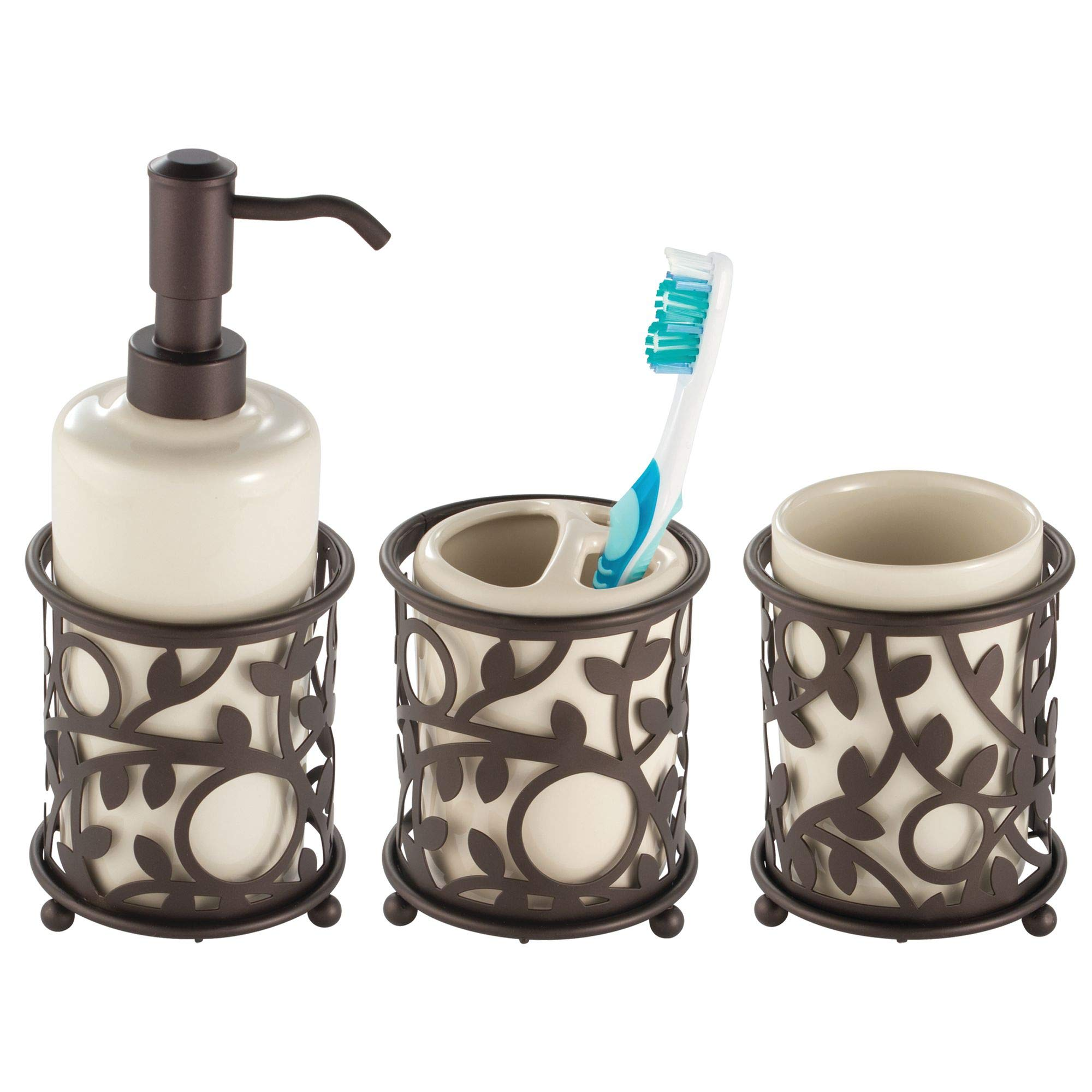 Mdesign Decorative Ceramic Bathroom Vanity Countertop Accessory Set Includes Refillable Soap Dispenser Divided Toothbrush Stand Tumbler Rinsing
