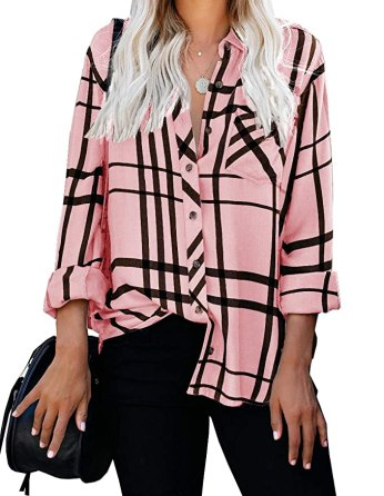 Last Minute Valentine's Day Prime Eligible Gifts - Womens Pink Button-down Top