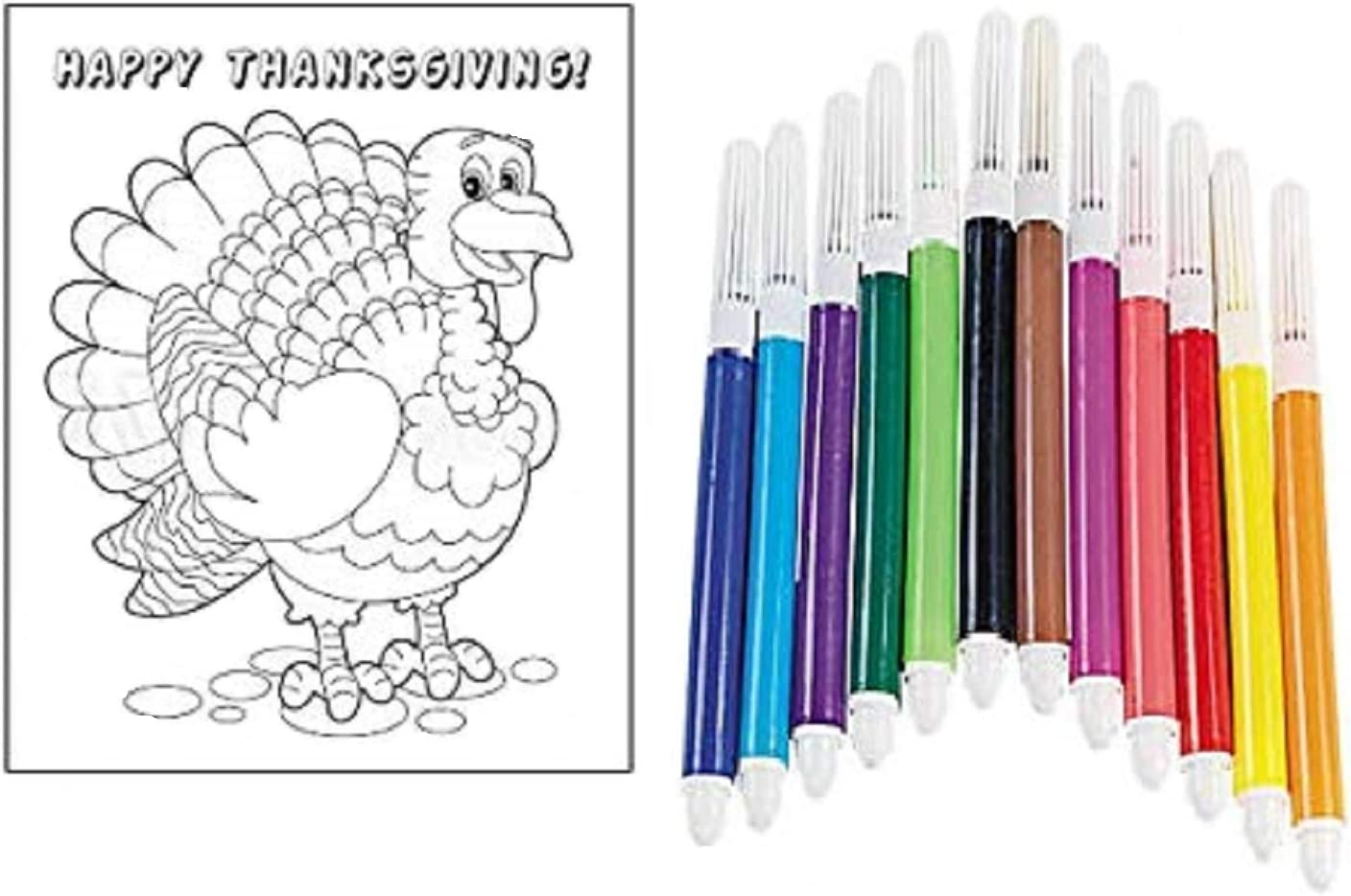 Amazon Com Biblebanz Happy Thanksgiving Color Your Own Turkey Cards For Kids Craft Set Bookmarks 12 Count With 1 Pack Of Markers Toys Games