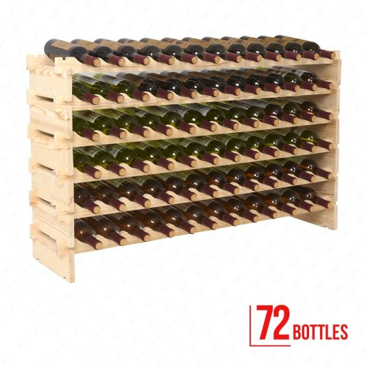 Mecor Wine Rack Freestanding Floor Wooden Stackable Storage Shelf