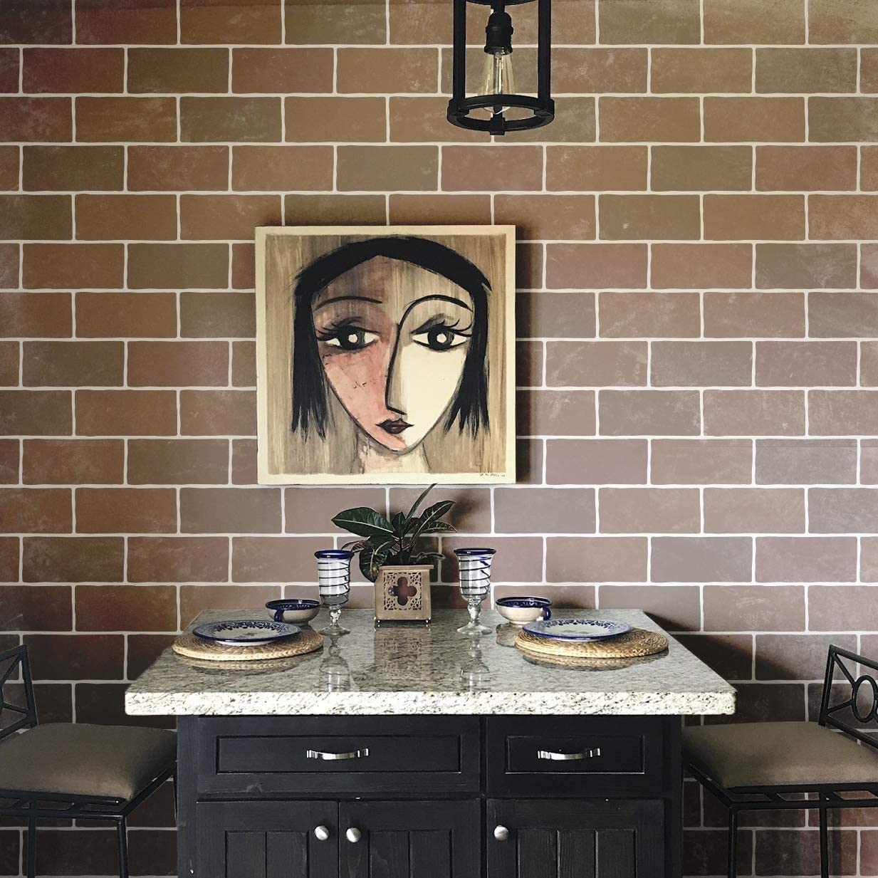 Amazon.com: Brick Wall Stencils - Faux Brick Wallpaper Design