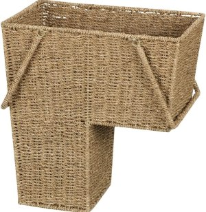 Household Essentials Seagrass Wicker Stair Step Basket with Handle