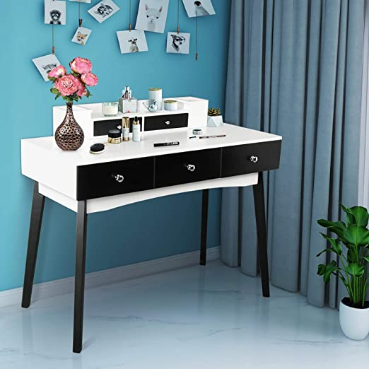 Amazon Com Computer Desk With 5 Drawers Home Office Writing Desk Student Study Laptop Workstation Modern Simple Makeup Vanity Table For Small Space Black And White Kitchen Dining