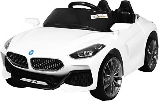 GetBest GetBolles Z4 Electric Ride on Car for Kids with Rechargeable 12V Battery, Music, Lights and Swing (White)