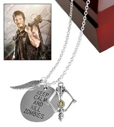 """Walking Dead Daryl Crossbow Wing Pendant Necklace """"Keep Calm & Kill Zombies"""" - Zombie Killer 24"""" Necklace"""