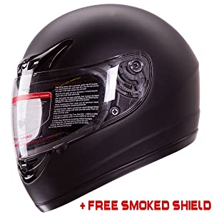 Matte Flat Black Full Face Motorcycle Helmet DOT +2 Visors Comes with Clear Shield and Free Smoked Shield