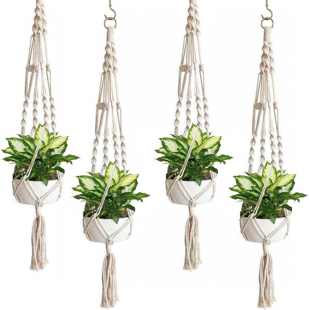 Amazon Com Sorbus Macrame Plant Hanger 4 Pack Indoor Outdoor Hanging Plant Pots Cotton Rope Elegant For Home Patio Garden Garden Outdoor