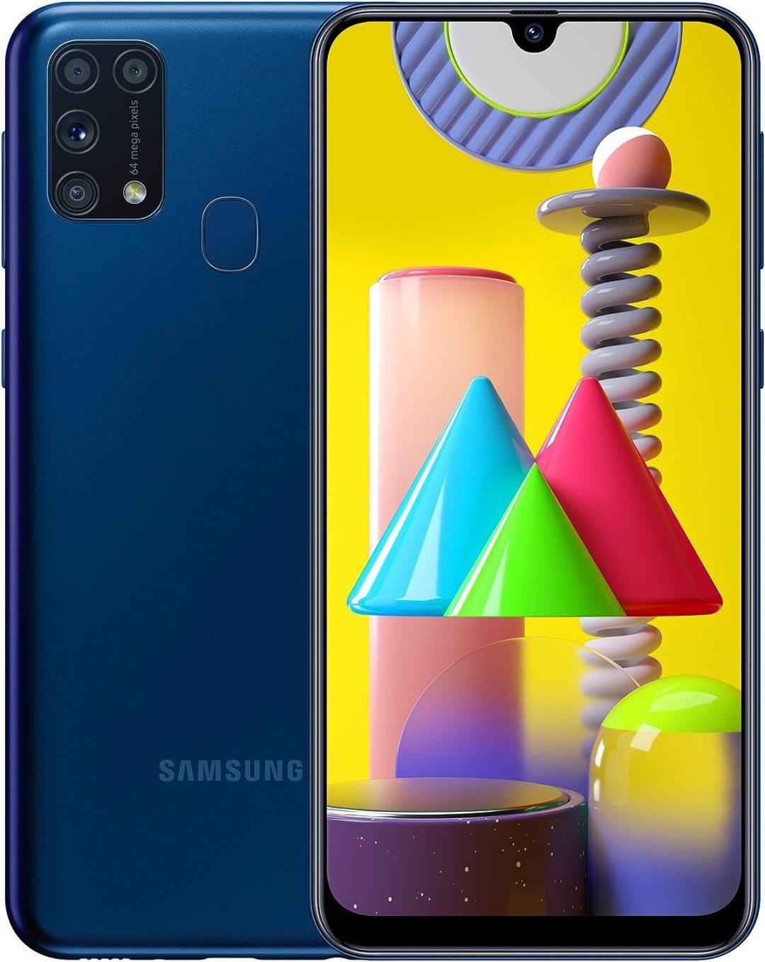 Samsung Galaxy M31 - Smartphone Portable débloqué 4G (Ecran 6,4 pouces - 64 Go - Double Nano-SIM - Android) - Version Française - Bleu