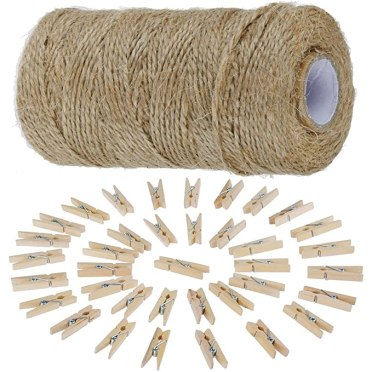 Anpro 812cm Jute Twine String and 50 psc Mini Wooden Pegs, Brown Hessian Twine String for Photos - Christmas Card Holder, Arts Crafts Gift Twine and Clips - Gardening Twine String