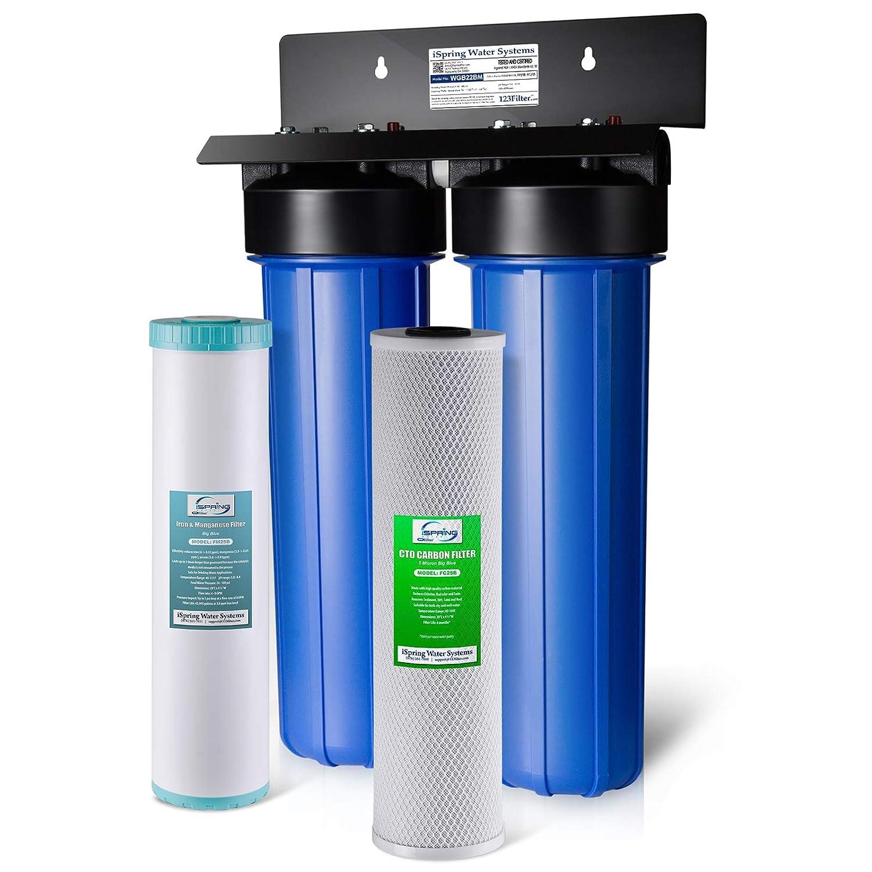 iSpring WGB22BM Iron Manganese Chloride Reducing 2-Stage 80,000 Gal. Big Blue Whole House Water Filter