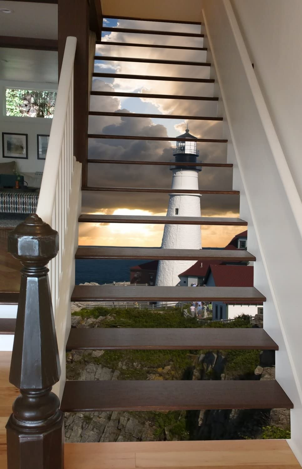 Amazon Com Lighthouse At Dawn 37 X 8 Painted Stairway Decoration | Wood And Painted Stairs | Diy | Before And After | Striped | Refinish | Oak