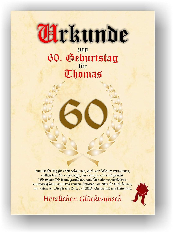 Urkunde Zum 60 Geburtstag Glückwunsch Geschenkurkunde Personalisiertes Geschenk Gedicht Grußkarte Geschenkidee Mit Spruch Din A4