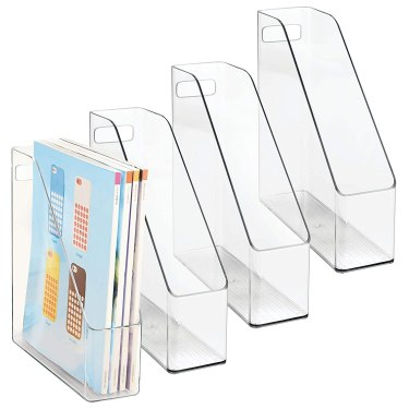 Use magazine holders to storage cardstock paper.