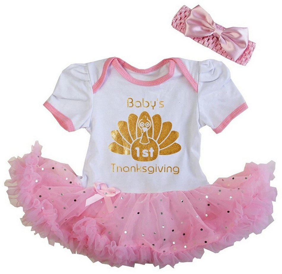 Kirei Sui Baby Gold Sparkle 1st Thanksgiving Turkey Bodysuit Tutu
