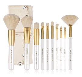 ZOREYA 10 Piece Gold Makeup Brush Set with Professional Makeup Brushes and Makeup Brushes Holder With Contour Brush Powder Brush Foundation Brush Angled brush Lip Make up Brush