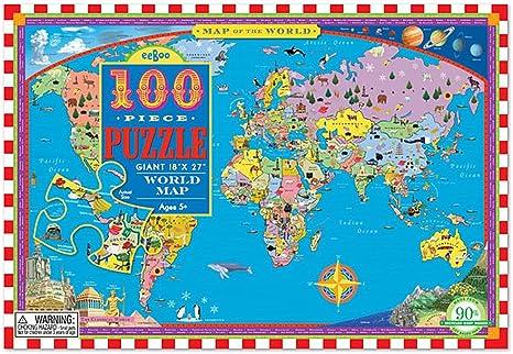 Amazon.com: World Map 100 Piece Puzzle: Toys & Games