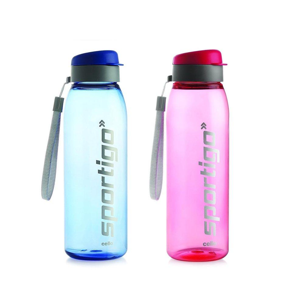 Cello Sporting Plastic Bottle Set, 800ml, Set of 2, Assorted