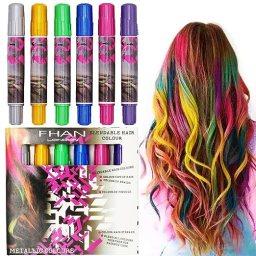 SOOKOO 6 Color Hair Chalk Set, Metallic Glitter Temporary Hair Color