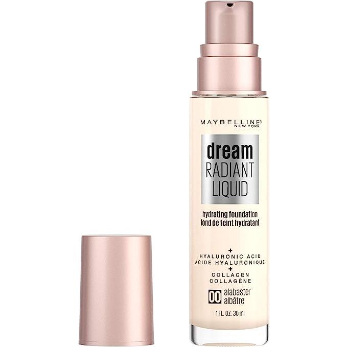 Maybelline dream Radiant Liquid Medium Coverage Hydrating Makeup, Lightweight Liquid Foundation, Alabaster, 1 Fl. קבוצת צבע: חום, שם של צבע: Hydrating Makeup, מתאים לשימושים הבאים: Women. אוז