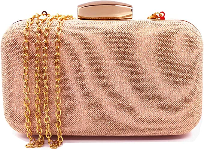 CORVYUC Glitter Evening Clutches Bags Prom Box Clutch Purses Bridal Purse for Women Wedding and Party (Rose Gold)