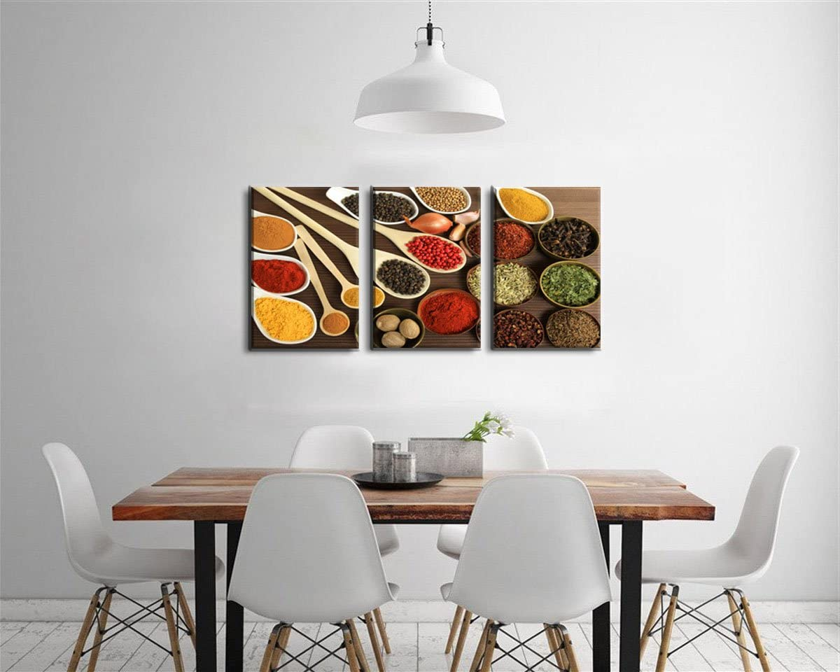 Amazon Com Kitchen Wall Decor Art Herb Seasoning Colorful Spice And Spoon Still Life Artwork Painting Food Concept Retro Picture Print On Canvas 3 Panels Framed Pictures Ready To Hang Posters