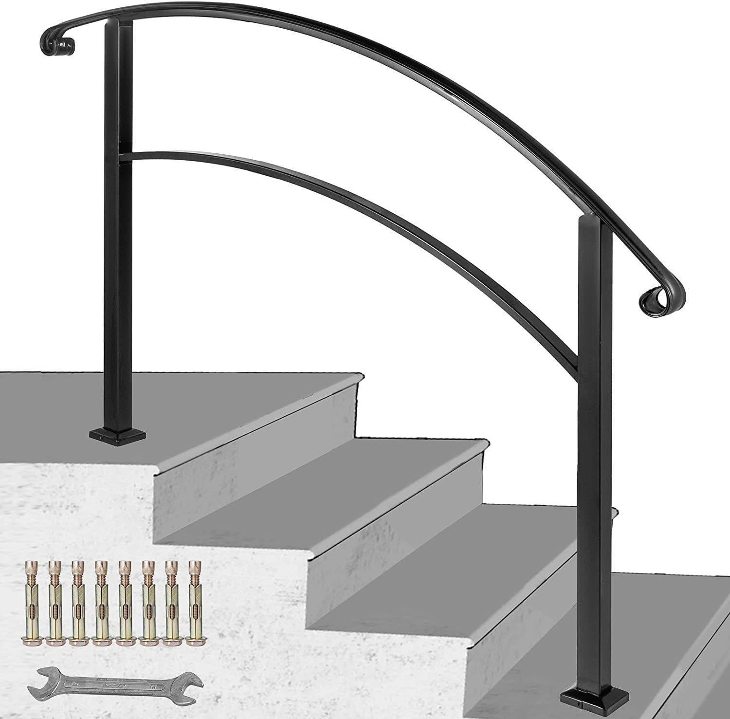 Happybuy 4 Step Handrail Fits 1 Or 4 Steps Matte Black Stair Rail | Outdoor Iron Stair Railing | Garden | Flat Iron | Decorative | Deck | Rustic