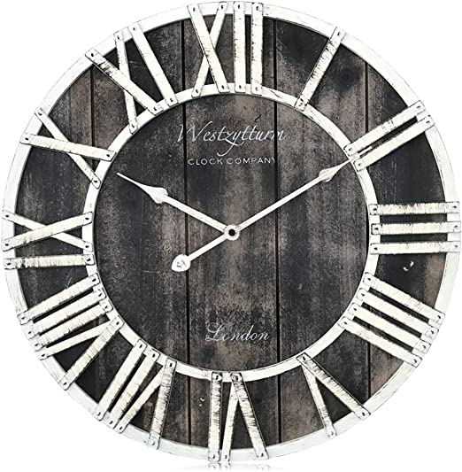 Amazon Com Westzytturm Extra Large Wall Clock Wood Rustic Farmhouse Vintage Decorative 3d Roman Numeral Big Wall Clocks For Living Room Kitchen Office Mantel Black 24 Inch Home Kitchen
