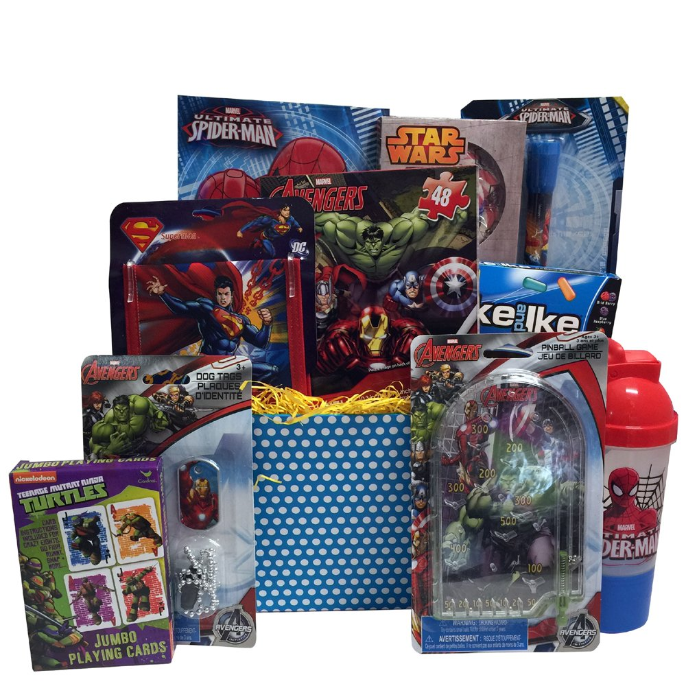 Ultimate Super Hero Easter Gift Baskets For Kids, Fun and Games Ideal Easter Gift for Boys 3 to 8 Years Old