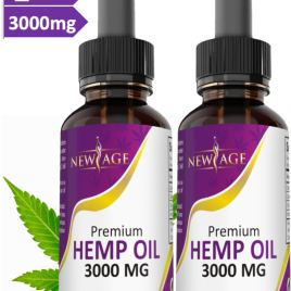 (2-Pack) 3000mg Hemp Oil Extract for Pain & Stress Relief – 3000mg of Pure Hemp Extract – Grown & Made in USA – 100% Natural Hemp Drops – Helps with Sleep, Skin & Hair.