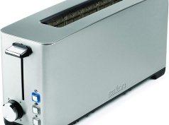Salton Space Saving Long Slot Electric, 2 Slice Toaster, Silver