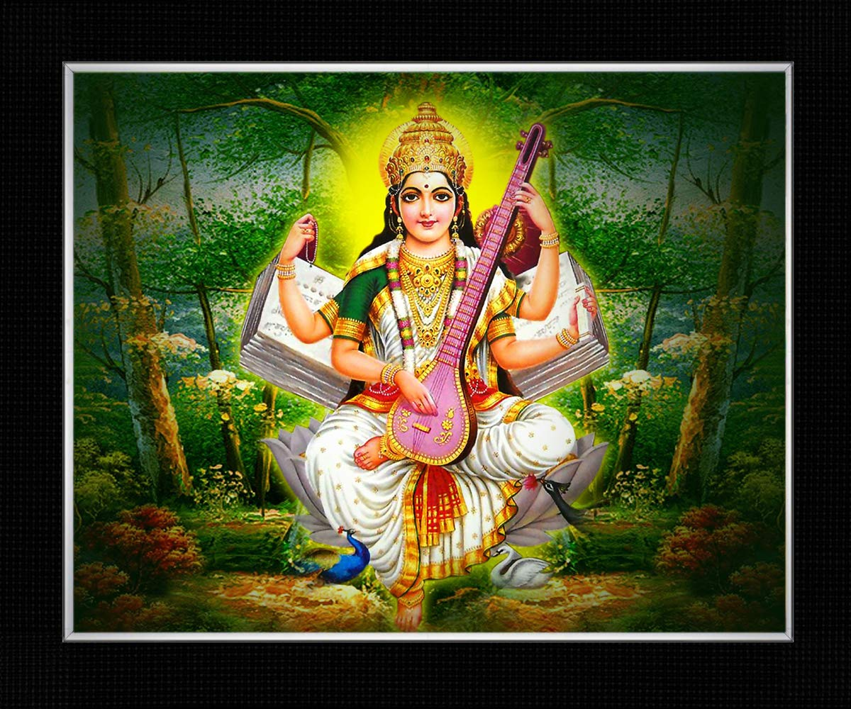 Buy Shree Synthetic Saraswati Mata Photo Frame Black8 X 10 Inch Online At Low Prices In India Amazon In