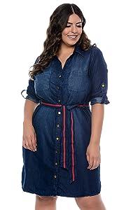 Vestido Jeans Plus Size Chemisier River com Cinto