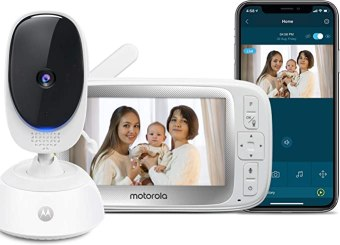 "Motorola Connect40 Wireless Family Video Monitor – 5"" Parent Unit and HD WiFi for Baby, Elderly, Pet – Remote Pan Scan, Digital Zoom/Tilt, Two-Way Talk, Night Vision, Temp Sensor, Hubble App"