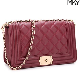 Leather Quilted Flap Crossbody Bag Clutch Purse Chain Shoulder Bag Travel Purse Burgundy