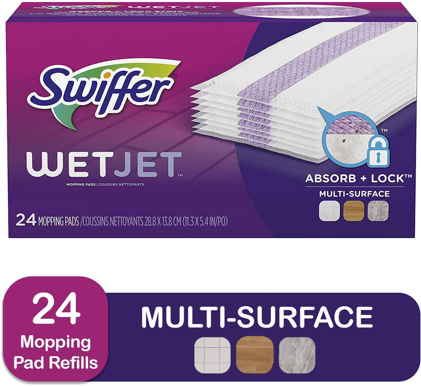 Amazon Com Swiffer Wetjet Hardwood Mop Pad Refills For Floor Mopping And Cleaning All Purpose Multi Surface Floor Cleaning Product 24 Count Health Personal Care