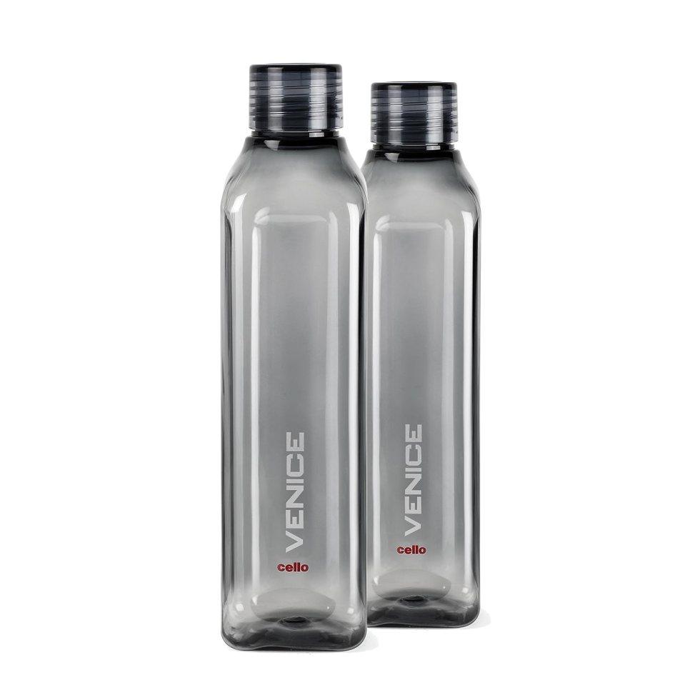 Cello Venice Plastic Water Bottle, 1 Litre, Set of 2, Black