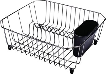 Rubbermaid 6008ARBLK Black Chrome Twin Sink Dish Drainer