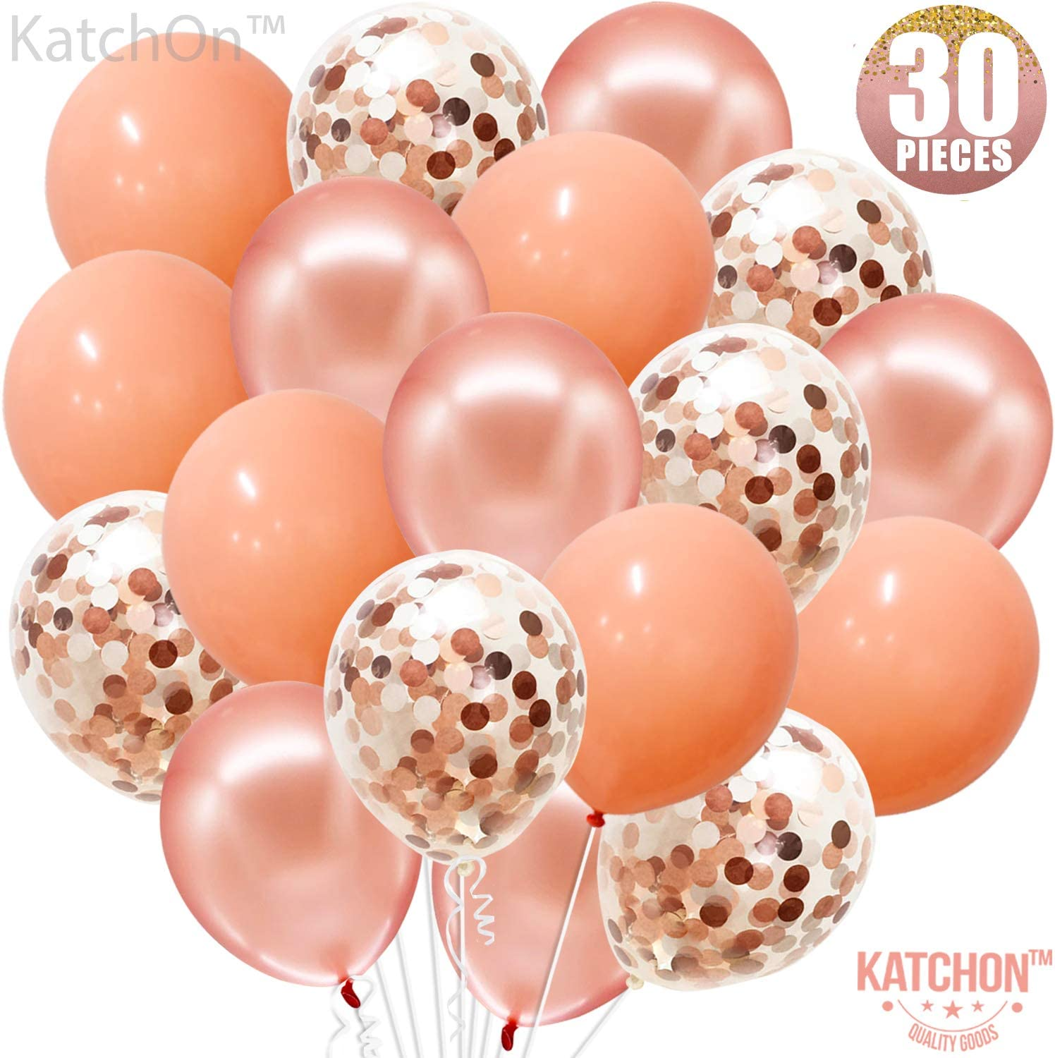 Amazon Com Rose Gold Confetti And Blush Pink Balloons Pack Of 30 Great For Bridal Shower Decorations Birthday Bridal Shower Balloons Pre Filled Rose Gold Confetti Metallic Balloons 3 Style 12
