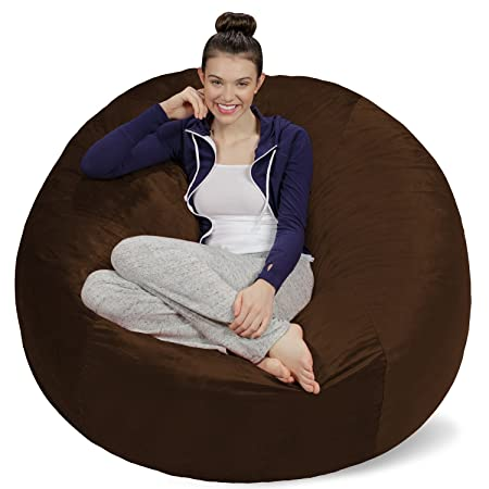 Woman-Sitting-On-Bean-Bag-Chair