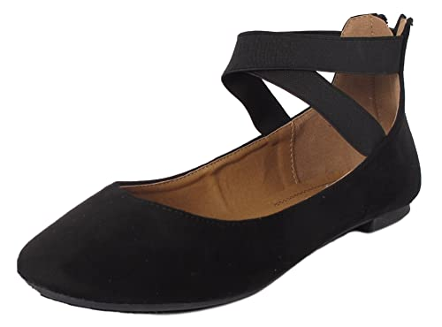Anna Dana-20 Women's Classic Ballerina Flat w/Elastic Crossing Straps Black 7.5