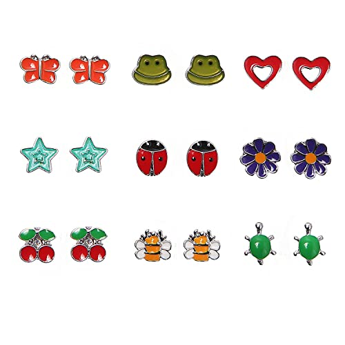 Multi Packs Animals Fruit Theme Earrings Set for Girls, Hypoallergenic (9Pairs Beneficial insect)
