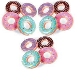"4E's Novelty Inflatable Donut Tubes Decoration Pack of 12, Great Pool and Beach Party Favor Supplies, 15"" Bulk Party Favors"